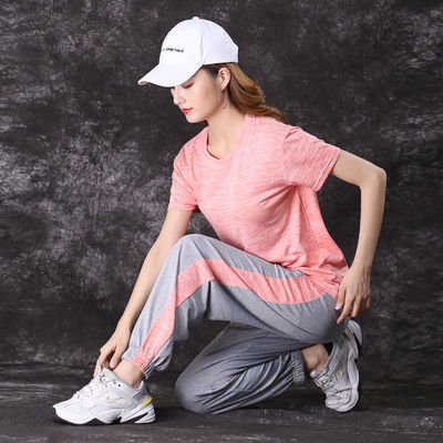 33642/运动套装女夏薄款2021新款时尚圆领短袖拼色宽松气质休闲两件套潮