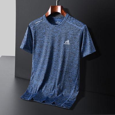 夏季冰丝男士圆领短袖T恤运动跑步速干衣宽松大码透气半袖休闲装