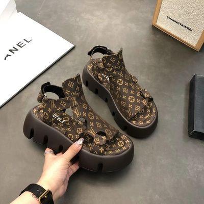 35354/欧洲站罗马凉鞋女2021夏季新款时尚厚底小个子露趾镂空高帮凉靴潮
