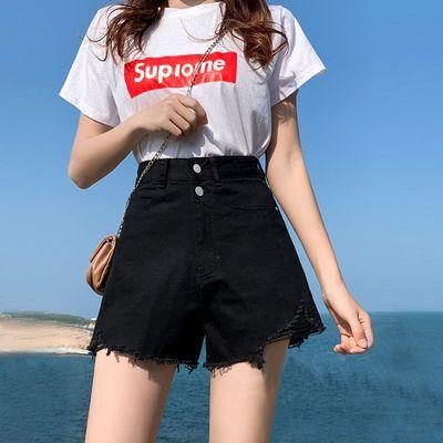 24706/高腰牛仔短裤女宽松韩版2021新款夏季黑色显瘦网红a字破洞阔腿裤