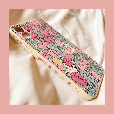17061/郁金香花园iPhone12promax手机壳苹果11直角边78pXRXSMAX侧边软女