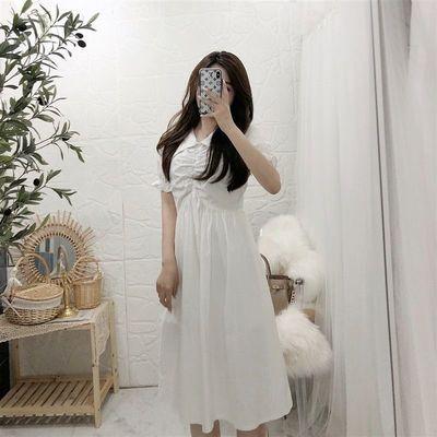 白色纯棉大V领连衣裙2021夏季新款收腰显瘦抽褶荷叶袖显气质中裙
