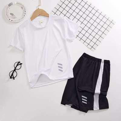 儿童运动套装男童夏薄款2021新款男孩短袖t恤速干衣中大童洋气潮