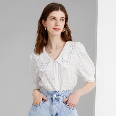 40649/亦谷娃娃领刺绣纯棉短袖T恤女2021夏新款甜美减龄时尚V领小衫上衣