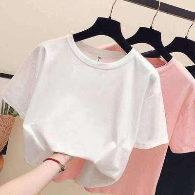 2021年夏季新款圆领宽松显瘦休闲百搭ins纯色短袖t恤女半袖上衣潮