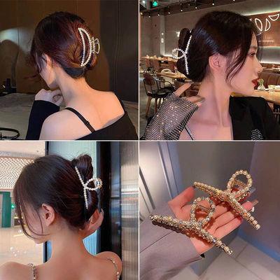 30836/抓夹后脑勺发卡头发夹子韩国网红珍珠水钻大号金属鲨鱼夹发抓卡子