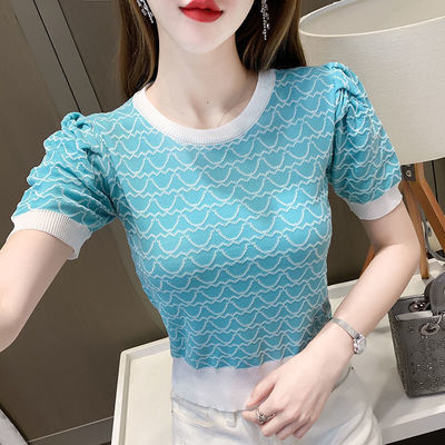 24161/2021新款韩版时尚小清新圆领针织衫女格子拼色百搭泡泡袖上衣女
