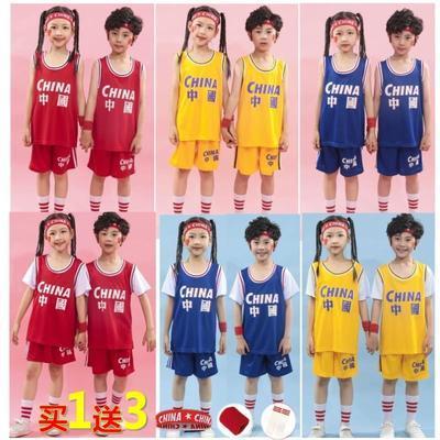 28080/儿童篮球服套装男童男孩幼儿园服装小学生女孩宝宝运动训练篮球衣