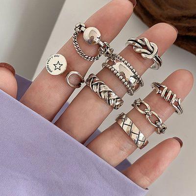 23236/学生韩版简约重工戒指女纯银气质不掉色复古ins冷淡小众设计指环