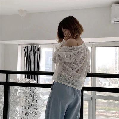 39296/2021夏季披肩很仙的宽松防晒衣镂空长袖蕾丝衫女外套薄款外搭开衫