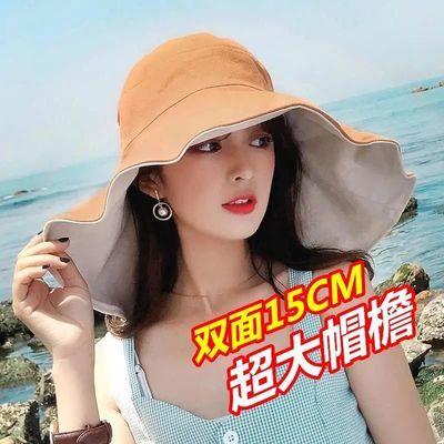 25961/防晒帽子夏季女遮脸遮阳帽防晒紫外线太阳帽洋气新款大帽檐渔夫帽