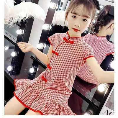 女童旗袍夏季格子2021新款中国风女大童民国风棉麻旗袍裙长款