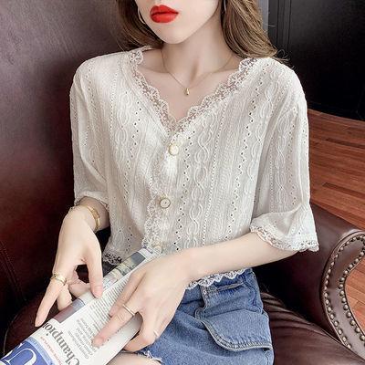 19849/2021夏季新款韩版短款仙气上衣V领时尚气质甜美淑女短款上衣女潮