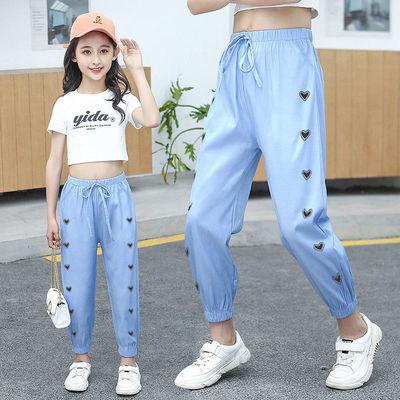 女童防蚊牛仔裤子2021新款夏天穿休闲宽松儿童裤子女小女孩洋气薄