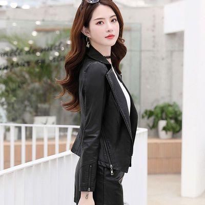 65356/女士春秋外套最新款皮衣真皮薄款羊皮皮夹克2021韩版修身显瘦翻领