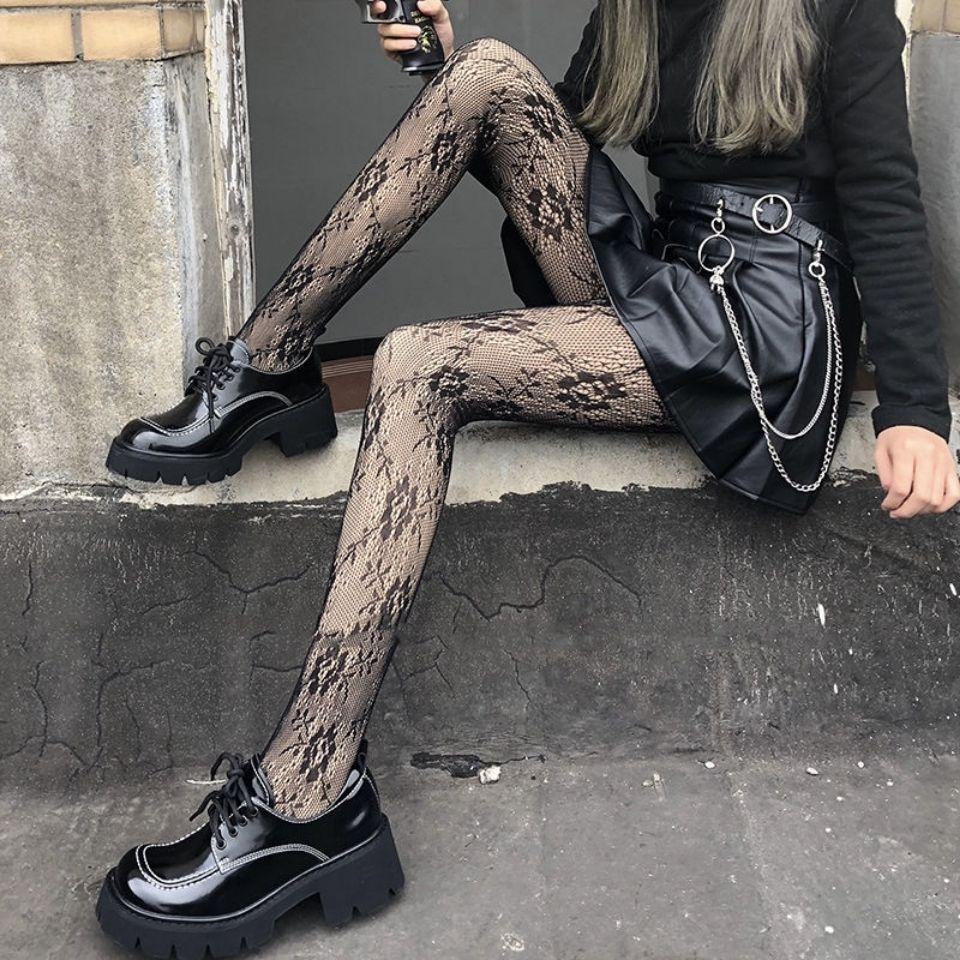 日系黑色复古玫瑰花藤蔓渔网蕾丝连裤打底丝袜女显瘦美腿夏季薄款