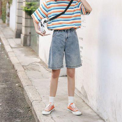 23892/大码胖妹妹夏季薄款高腰牛仔短裤百搭宽松做旧女热阔腿五分裤显瘦