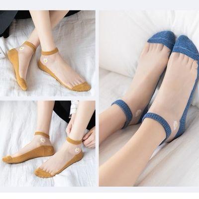 夏日小雏菊玻璃丝袜日系薄款咖色紫色花女士防滑耐磨透明水晶短袜