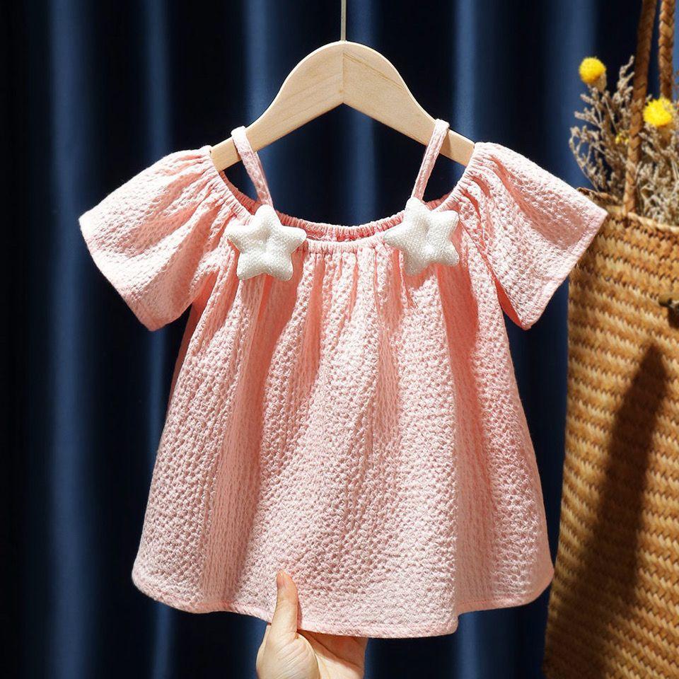 新款女童装露肩吊带女宝宝雪纺短袖
