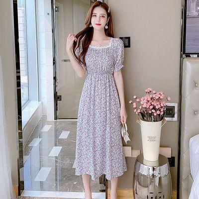 40011/碎花雪纺连衣裙女2021年夏季新款法式方领复古气质收腰显瘦中长裙