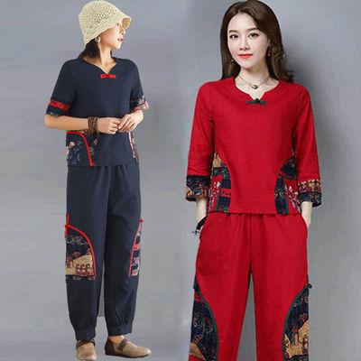 41038/民族风女装中式刺绣复古唐装女士两件套文艺棉麻上衣女夏短袖套装