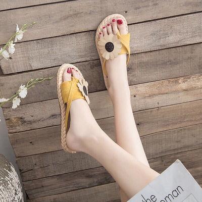 64812/拖鞋女新款夏外穿韩版防滑人字拖鞋女时尚布面花朵百搭夹脚凉拖鞋