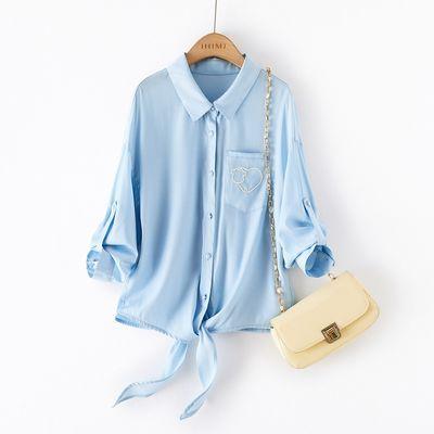 25346/海谧衬衫女2021年夏季新款洋气时尚气质纯色简约宽松显瘦刺绣衬衣