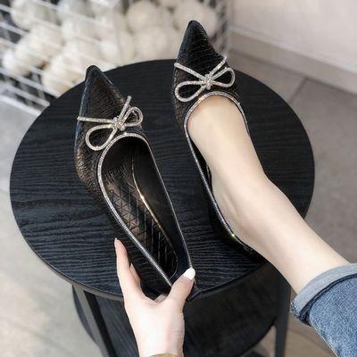 蝴蝶结高跟鞋女春秋新款网红性感软皮尖头细跟仙女风浅口单鞋婚鞋