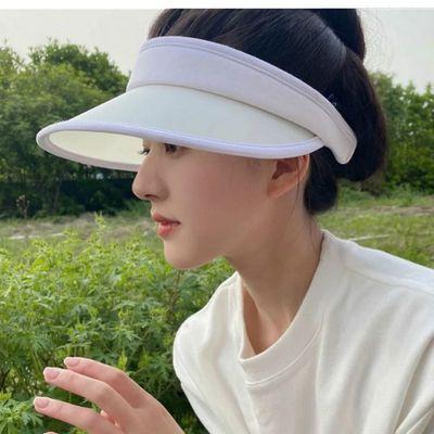 55421/晚晚露思同款遮阳帽子女夏季uvcut防晒帽户外遮脸防紫外线空顶帽
