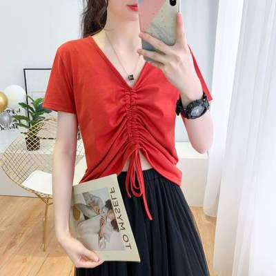 【棉】夏季新款韩版T恤女学生宽松褶皱抽绳显瘦V领上衣潮