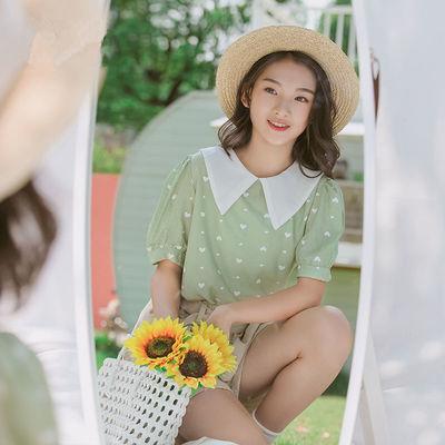 女童夏装2021新款韩版衬衫中大童短袖上衣娃娃领夏季衣服女孩衬衣