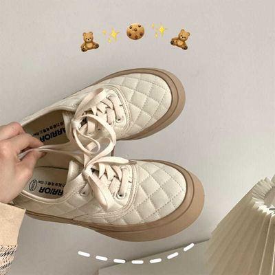 57206/女鞋奶油帆布鞋女学生2021年新款春秋韩版百搭大头鞋女ins街拍