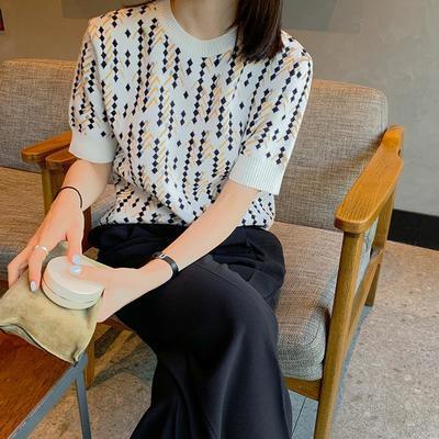 19529/冰丝针织衫夏短袖内搭春装2021年新款女装中袖打底衫春秋半袖上衣