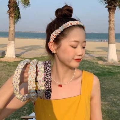 24339/超仙褶皱小清新仙气小碎花发箍少女学生头箍网红少女发卡外出发饰