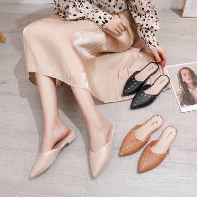 2021夏季新款无后跟懒人网红包头半拖鞋女平底外穿时尚百搭女鞋子