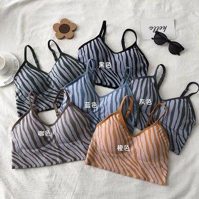 18663/复古斑马纹V领吊带背心女内搭夏季性感外穿时尚运动内衣短款上衣