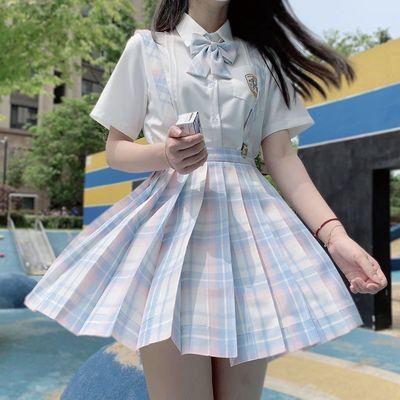 31061/JK制服格裙百褶裙子女日系学院派校服短裙jk格裙套装夏装半身裙