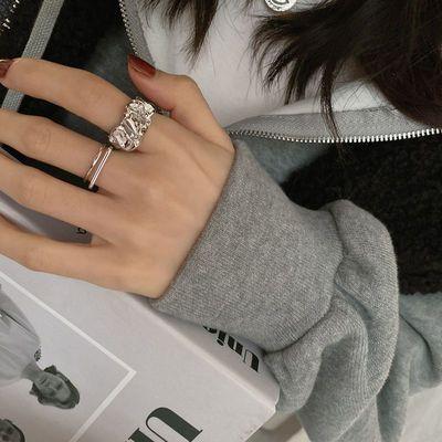 21354/戒指女ins褶皱款食指开口纯银不掉色时尚小众设计高级感气质手饰