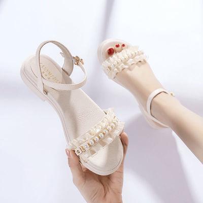 69874/小清新软皮凉鞋2021年新款女夏平底粗跟仙女风一字扣带学生鞋子女