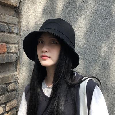 帽子女ins韩版潮百搭出游遮阳帽防晒紫外线大沿遮脸日系渔夫帽