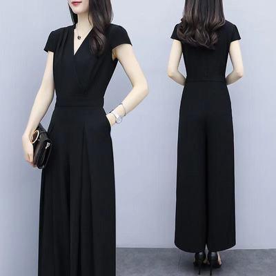 64353/遮肚显瘦女装2021夏季新款潮气质收腰阔腿连衣裤短袖大码时尚套装