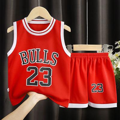 39261/儿童篮球服男童运动速干衣中大童无袖短裤两件套女童夏季背心套装
