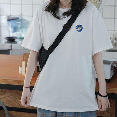 100%纯棉夏季2021新款潮ins百搭上衣刺绣t恤女学生韩版宽松打底衫