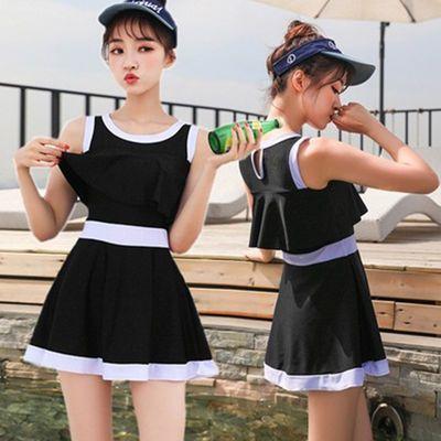 65613/游泳衣女韩国ins新款学生保守连体裙式超仙遮肚显瘦温泉大码泳装