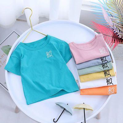 2021新款中小儿童装男女童短袖t恤夏装纯棉宝宝上衣姐弟装宽松版