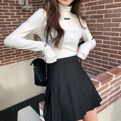 18200/2021夏季新款半身裙高腰显瘦学生学院百搭百褶裙A腰黑白灰卡其