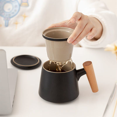 陶瓷办公杯茶水分离杯过滤水杯泡茶杯带盖创意木柄杯子礼品杯定制