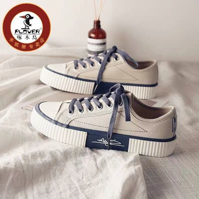 22670/PLOVER啄木鸟帆布鞋女学生韩版饼干板鞋2021春季新款百搭ins布鞋