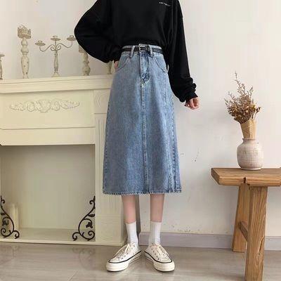 29132/牛仔半身裙2021春秋季新款高腰开叉显瘦遮跨a字女小个子中长裙潮