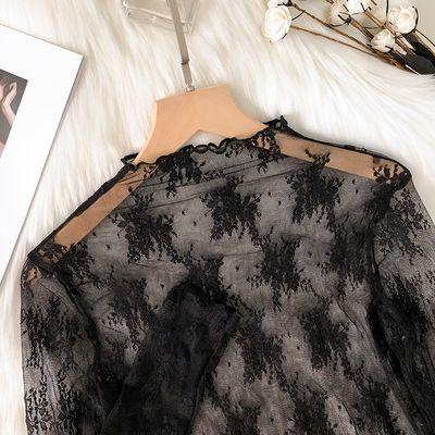 20429/高端小衫黑色网纱上衣女透明透视薄款内搭纱衣洋气高领蕾丝打底衫
